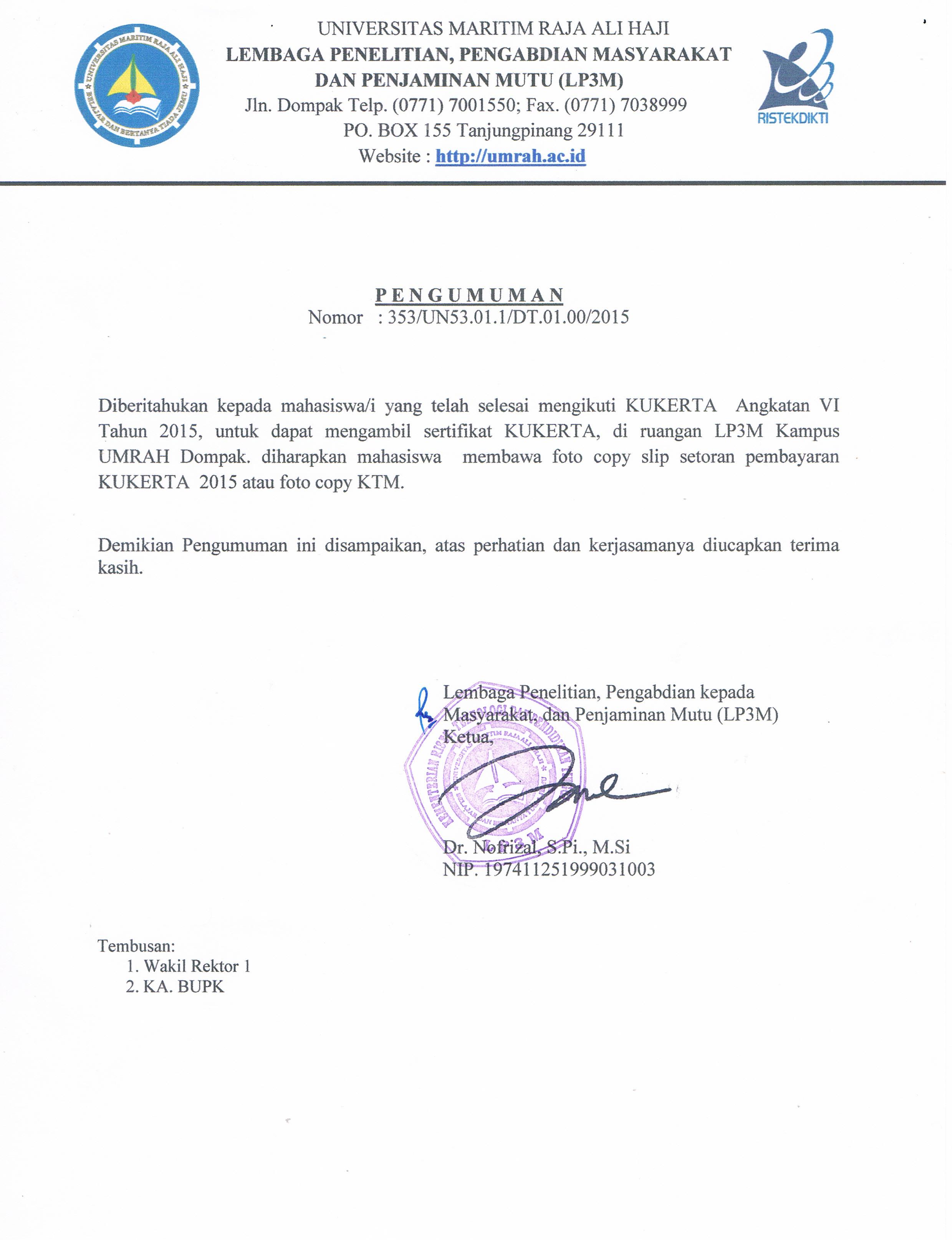 pengumuman pengambilan sertifikat KUKERTA angkatan VI Tahun 2015